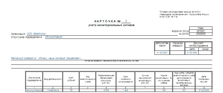 kartochka ucheta nematerialnyh aktivov nma 1 obrazec blank 2018 goda 8d64d90