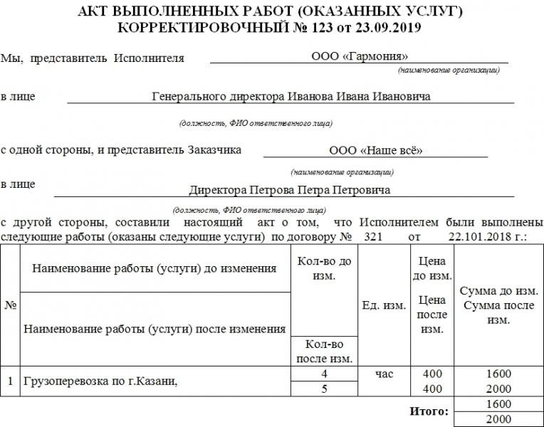 korrektirovochnyj akt vypolnennyh rabot obrazec i blank 2018 goda 81c2471
