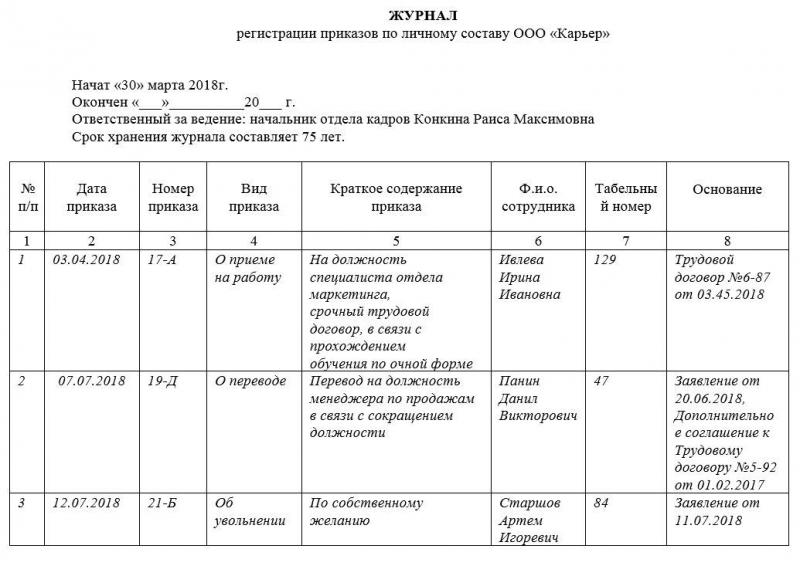 zhurnal registracii prikazov po lichnomu sostavu obrazec i blank 2018 goda 59c0b80